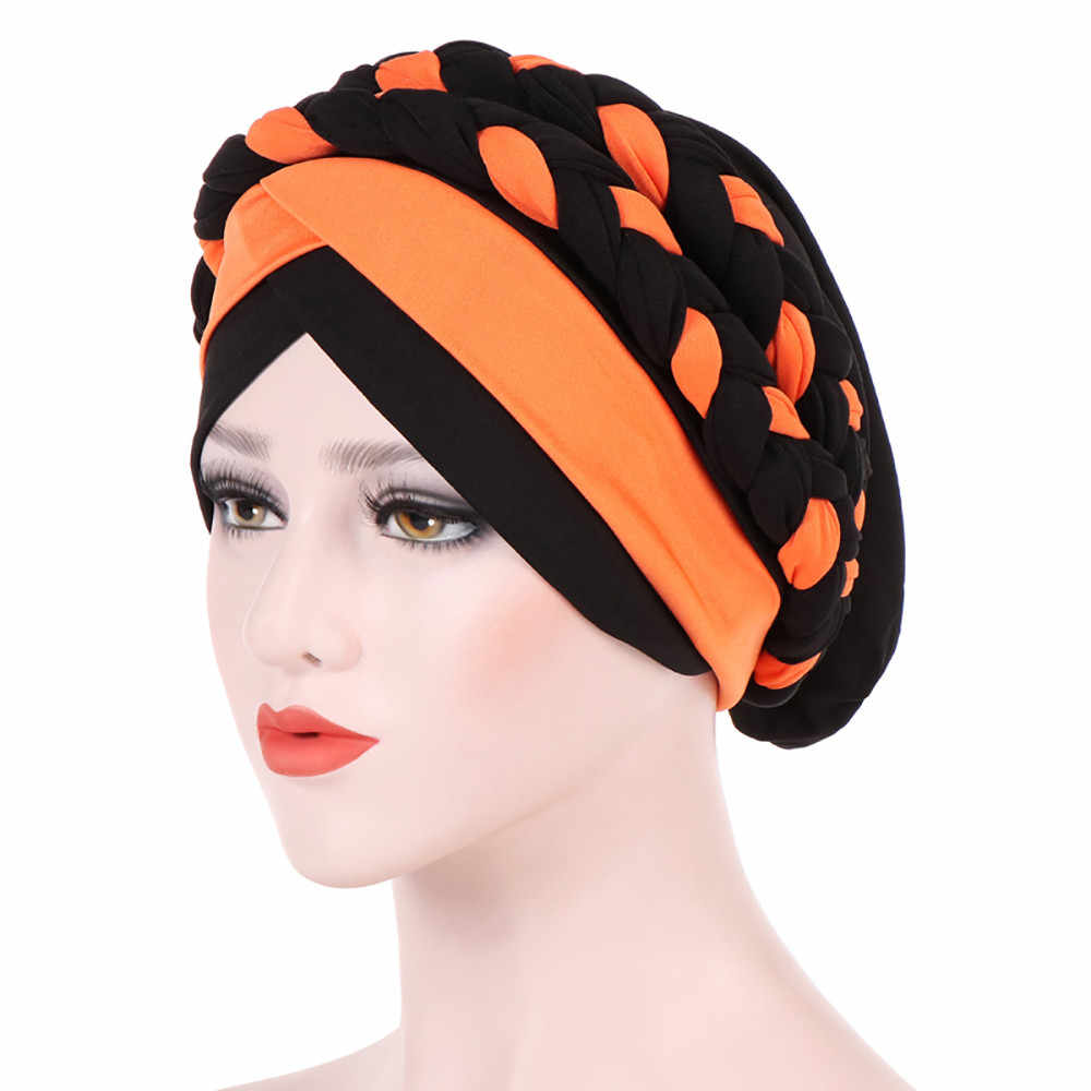 Muslim Stretch Turban Women Headband Ruffle Cancer Chemo Hair Hats Beanie Bandanas Scarf Head Wrap Headwear Workout Cap PJ0822