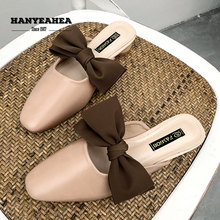 Bowknot Womens Summer Shoes Fur Slippers Casual  Flat Lady Fashionable