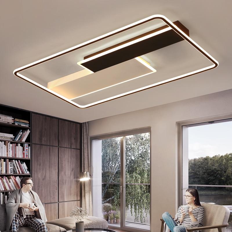 Modern Square Led Chandelier For Living Room Dining Room Bedroom Lustres Memory Function Led Ceiling Chandelier