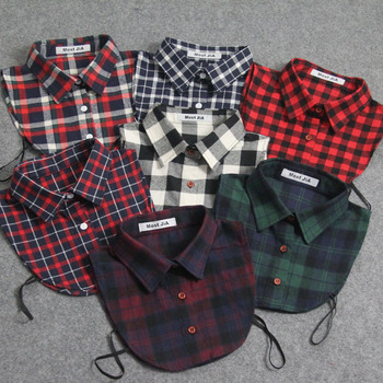 Classic Plaid false collars Detachable Shirt