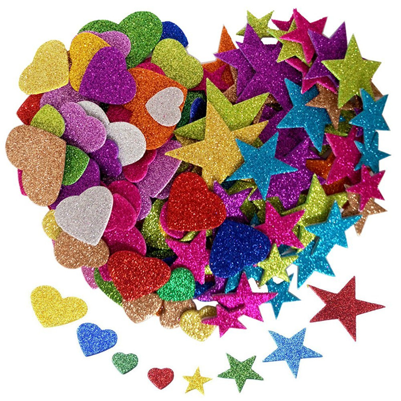 self-adhesive Glittered Stickers Love Hearts Star Pack Colorful Foam Shapes Arts