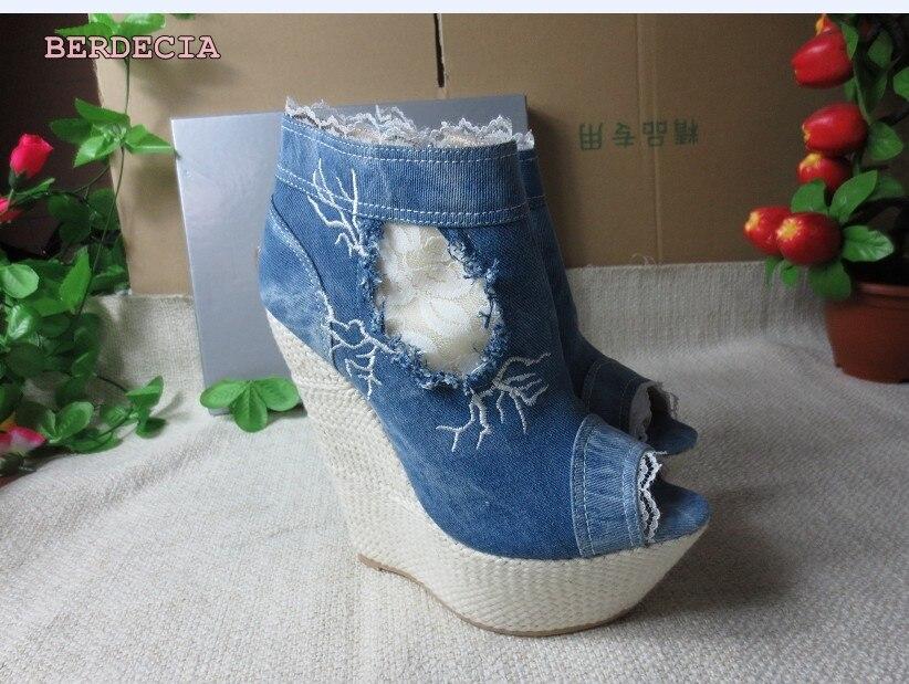 Plate Bleu Usine Talon Photo Bottines Denim Haut 15 Vraie Toe Vente Sandale Cm forme Évider Chaussures Bottes Peep Compensé Chaude FqnwA6