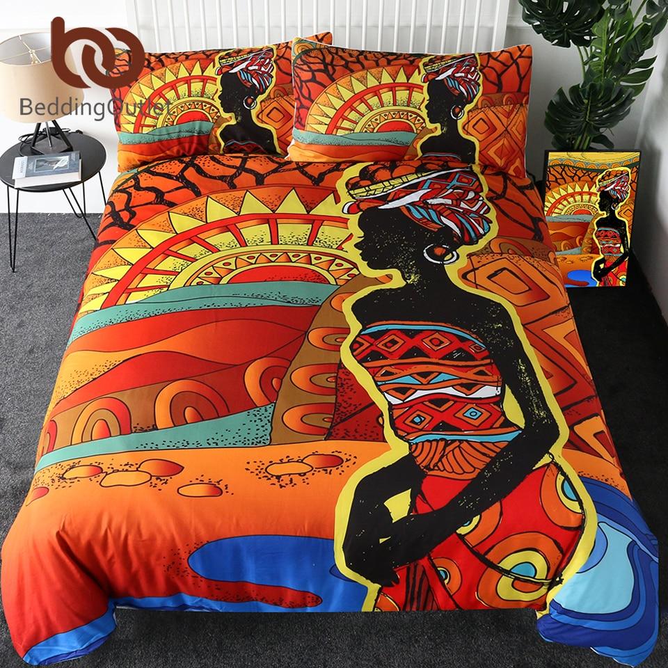 BeddingOutlet African Bedding Set King People Woman Duvet Cover Desert Geometric Home Textiles Red Orange Sun Bedclothes 3 Piece