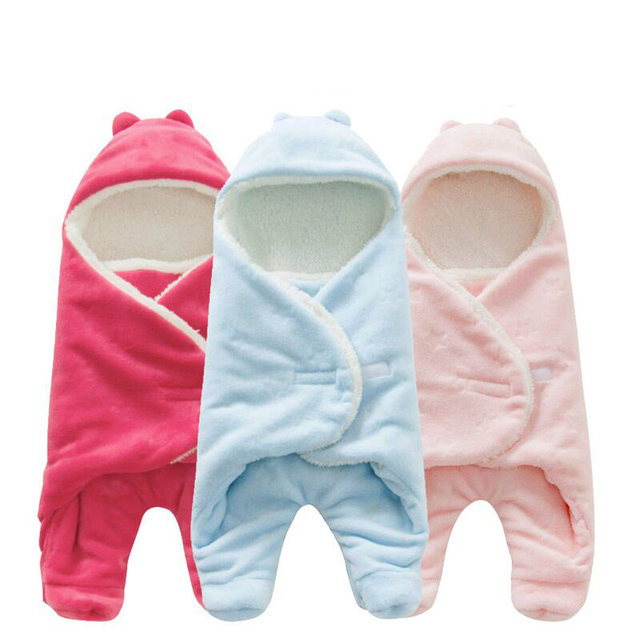 08758cc6e9 Baby Blanket Envelope Swaddle Winter Wrap Coral Fleece Newborn Blanket  Sleeper Infant Stroller Wrap Toddlers Baby Sleeping Bag