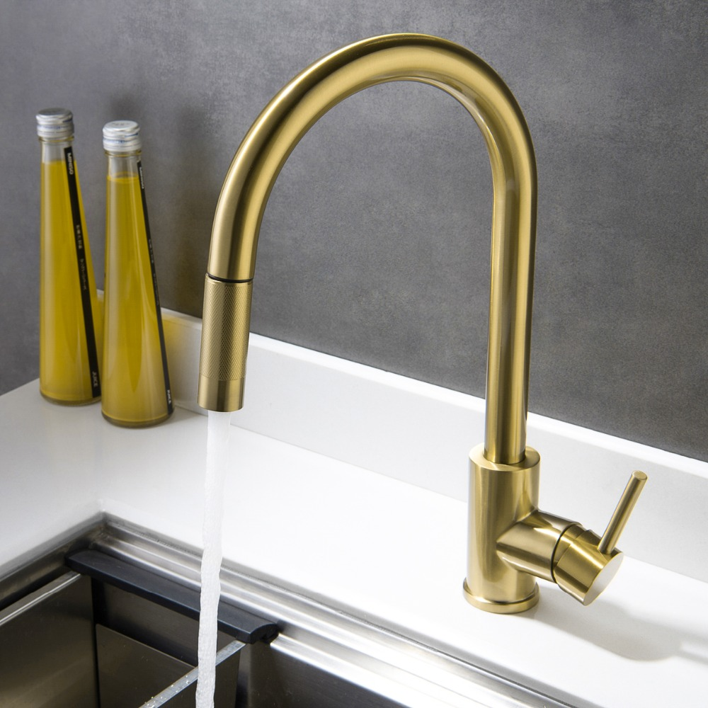 Brushed Gold Top Quality Kitchen Sink Faucet Lead Free All Stainless Steel Kitchen Faucet Pull Down Cold And Hot Mixer Faucet