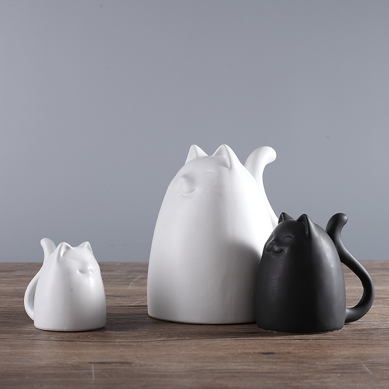 3pcs set Black and White Ceramic Cats Figurine Animal Statue Ornaments European Modern Craft Home Decor