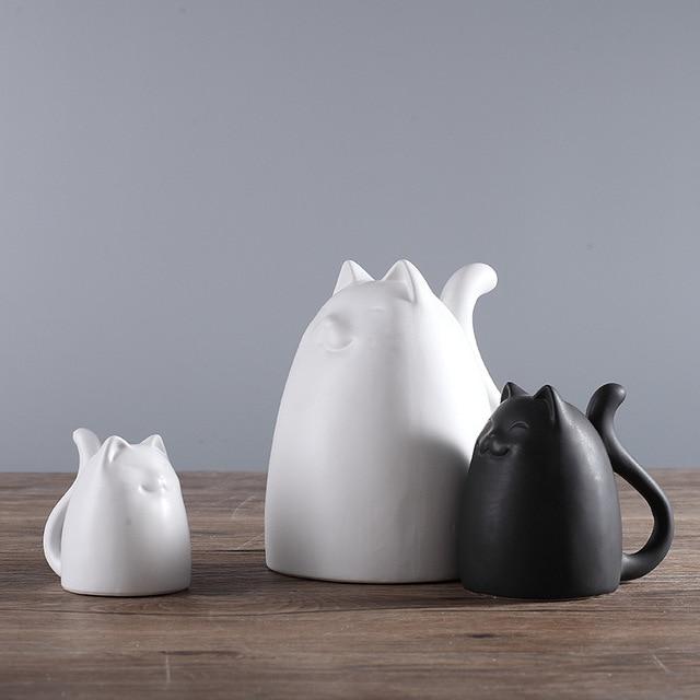 3pcs Set Black And White Ceramic Cats Figurine Animal Statue Ornaments European Modern Craft Home