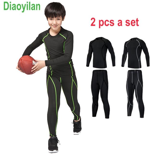 Nuevos niños fitness Medias Correr set rápido seco gimnasio ropa deportiva  manga larga Camiseta legging Pantalones 8bd1572b4ca4