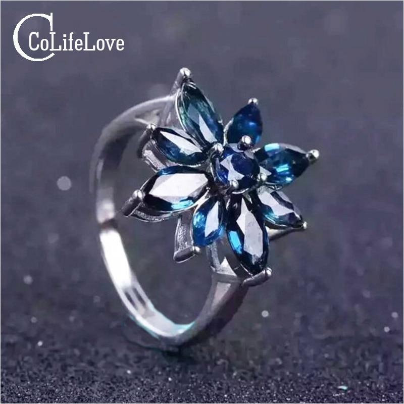 Romantic sapphire flower ring natural dark blue sapphire silver ring solid 925 sterling silver sapphire ring