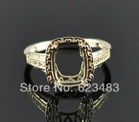 Emerald Cut 8×10 Solid 14K Yellow Gold Natural Diamond Semi Mount Engagement Ring
