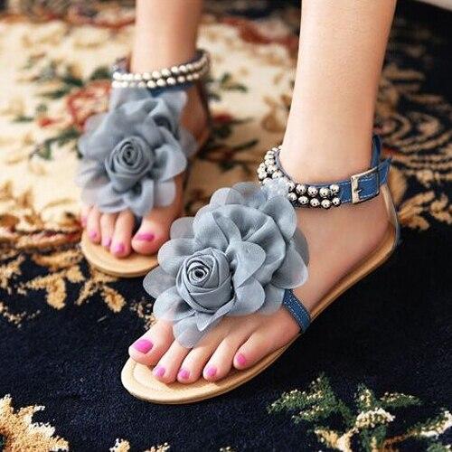 Big size Gladiator Sandals for Women Bohemia Beaded Summer Flower Flat Heels Flip Flops Women's Shoes Tstraps Sandals salice 619darwf white rw green