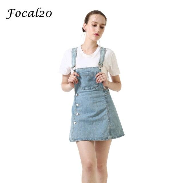 d8868953c67 Focal20 Casual Women Denim Playsuit Button Zipper Adjustable Strap Short  Jeans Pantskirt Jumpsuit