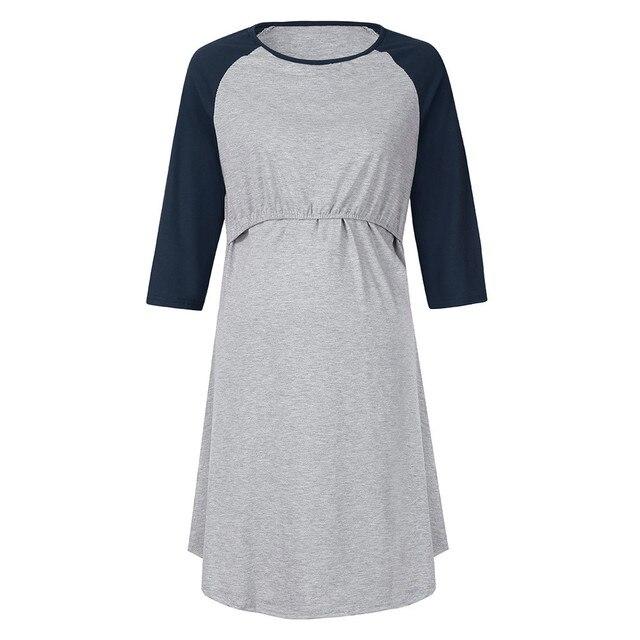 Women Pregnancy Care Wrap High Waist Dress Cotton Loose Casual Women Maternity Dress Patchwork Nursing Dress for Pregnant Women