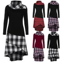 New Arrival Popular Women High Neck Plaid Pattern Patchwork Dress Long Sleeve Dress High Quality Classical