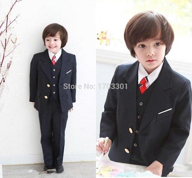 Custom made 2015 Новый Жених Смокинги Мальчика Костюмы Черные свадебные костюмы для мальчиков костюм для детей