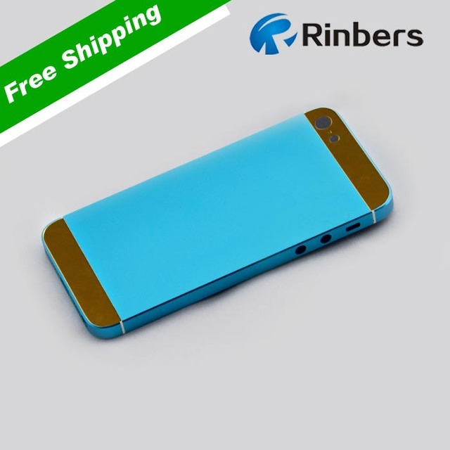 For iPhone 5S Light Blue Gold Glass Empty Metal Back Cover Housing  Replacement Part +Middle Frame Bezel e0db644669
