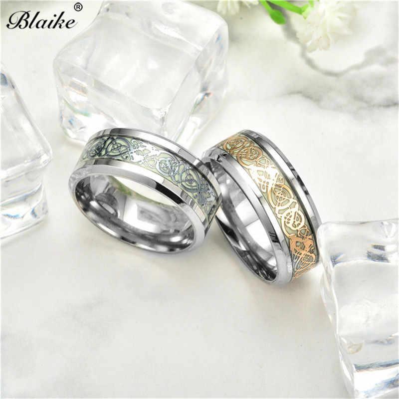 Blaike วินเทจสีทอง/เงิน/ดำไทเทเนียมเหล็กแหวนสำหรับผู้หญิงผู้ชายเครื่องประดับแฟชั่นชายหญิงสแตนเลสแหวน 8 มิลลิเมตร