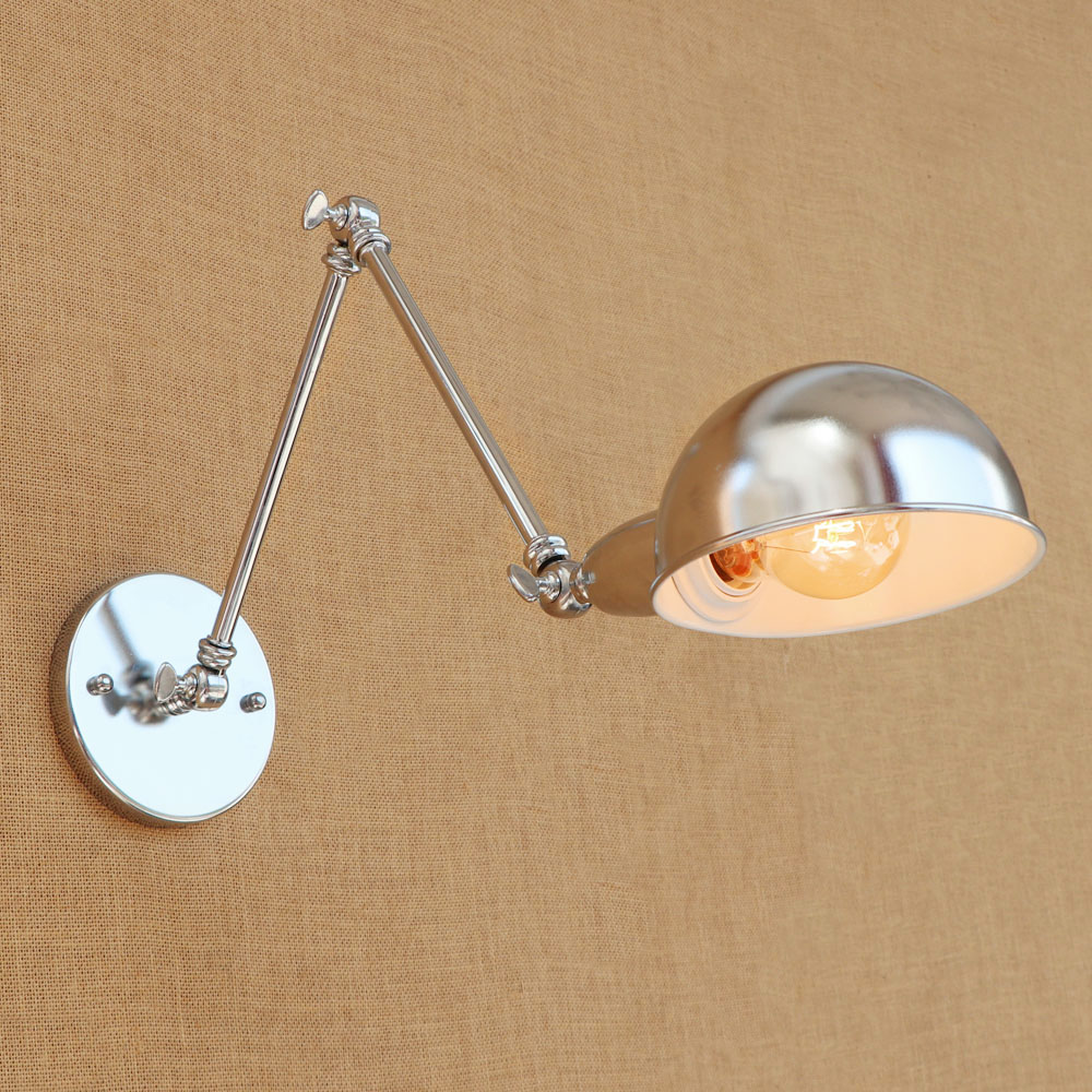 modern loft metal adjust long arm chrome wall lamp for Bathroom study bedroom diningroom foyer Vanity Lights E27 110-220V