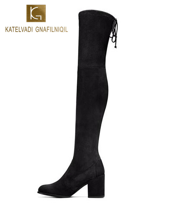Women Boots Black Kid Suede Over The Knee Boots Winter Boots Women Sexy Slim Fit Stretch Suede Thigh High Boots Botas K-032 2017 winter cow suede slim boots sexy over the knee high women snow boots women s fashion winter thigh high boots shoes woman