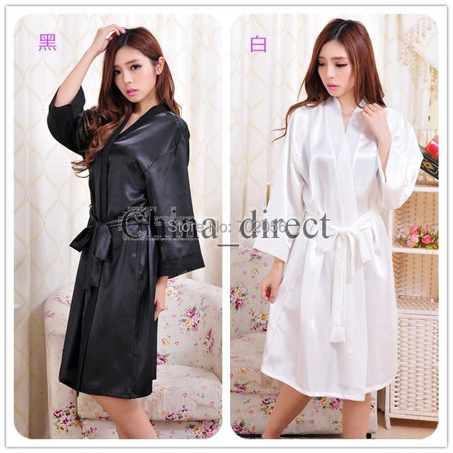 Unisex mens womens Solid plain rayon silk Robe Pajama Lingerie Nightdress Bathrobe  Kimono Gown pjs Women Dress 7 colors  3794 2385eccdd