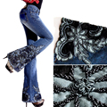 2016 Autumn  Winter Women's Fashion Embroidered Beads Decorated Blue Jeans , Female Elastic Flared Denim Trousers , Woman Pants