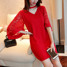 New loose lace dress  spring and autumn knitting pull femme lace speaker sleeve women sweater Multi-color selection