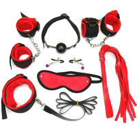 New Sexy Lingerie Erotic Toy 7pcs Set Sexy Toys Adult Sex Bondage Restraint Handcuffs Whip Collar