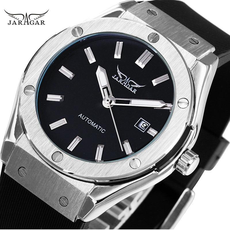ساعات رياضية JARAGAR للرجال التلقائي الميكانيكية ساعة اليد الشريط المطاطي السيارات تاريخ التصميم العسكري جودة عالية ووتش + مربع