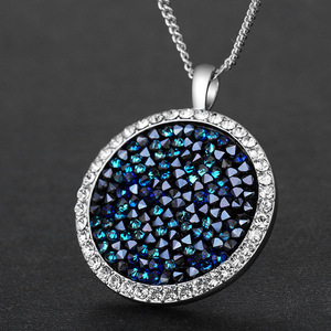 Image 3 - Cdyle Embellished with crystals Pendants Necklaces Round Jewelry Elegant Fashion Blue Bijous Sexy Female