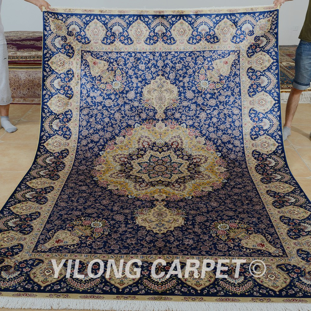 Traditional Kashmir Silk Handmade Hand Knotted Persian: Yilong 6'x9' Vantage Traditional Persian Carpet Hand