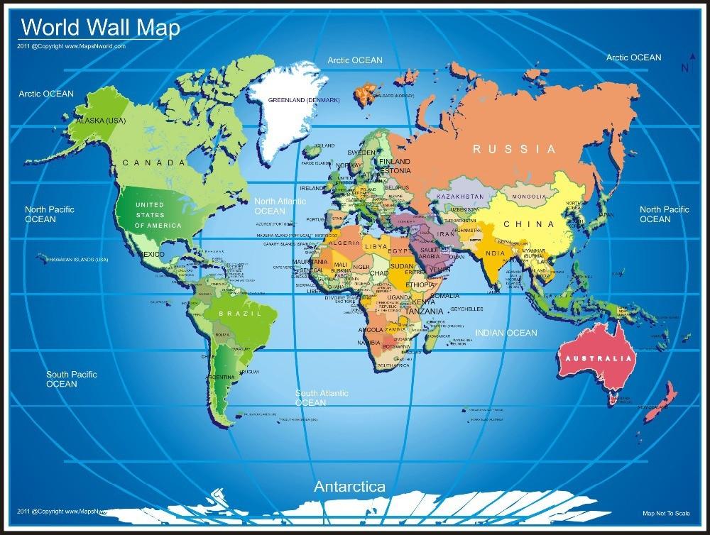 Free Shipping World Map Wallpaper Mural Custom Classical Home