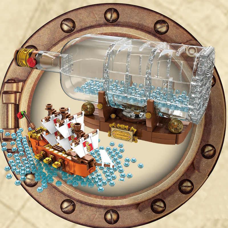 Lepinblocks Led Tàu Thuyền Trong Một Chai 21313 Technic Ý Tưởng Lepining Playmobil Khối Xây Dựng Gạch Trẻ Em Đồ Chơi Dành Cho Trẻ Em