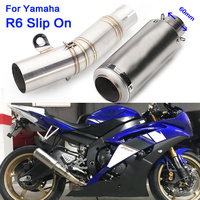 Universal 60mm motorcycle exhaust pipe & r6 middle link pipe with sc Laser mark whole set pipe for Yamaha R6 2006 2016 year