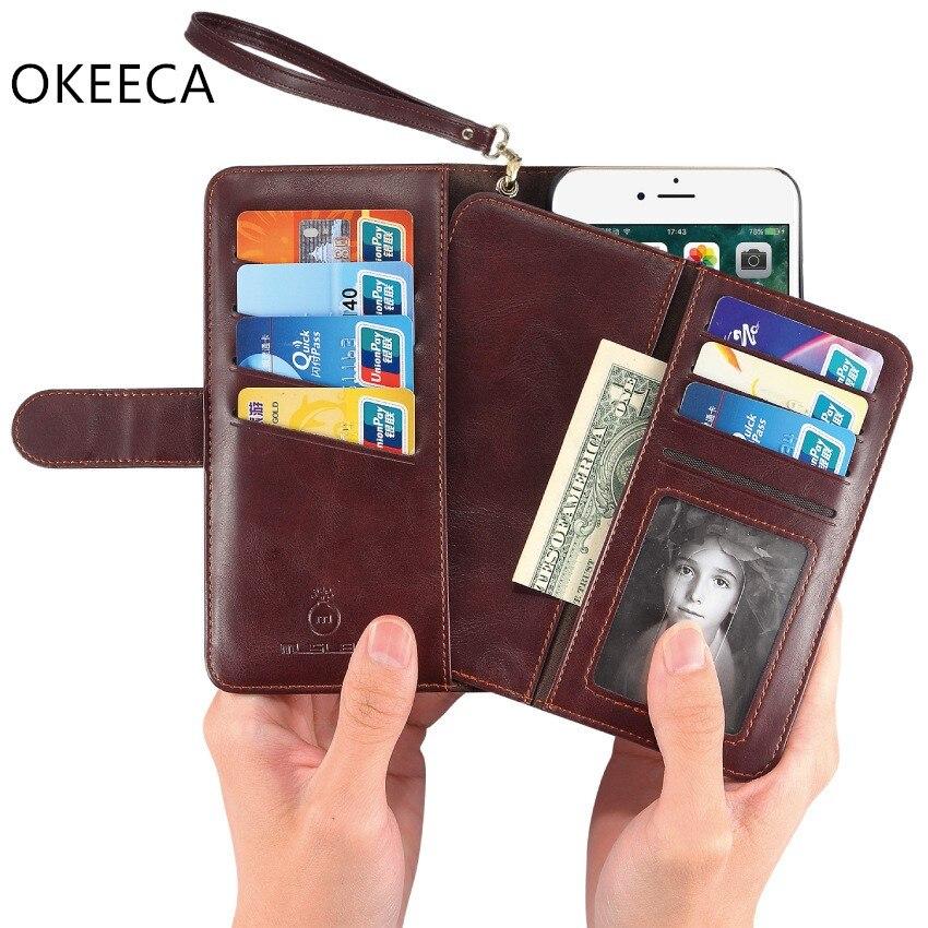 bilder für OKEECA Handarbeit Aus Echtem Leder Brieftasche Telefonkasten für iPhone 6 6 s 6 P 6SP 7 7 P 2017 Neue Design Mode und Luxus 4,7 & 5,5 zoll