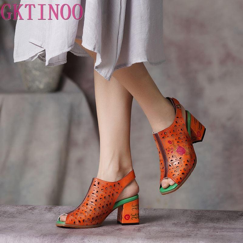 Gktinoo peep toes 여성 샌들 2019 summer lady shoes 하이힐 백 스트랩 수제 레트로 컷 아웃 여성 샌들 플러스 사이즈-에서하이힐부터 신발 의  그룹 1
