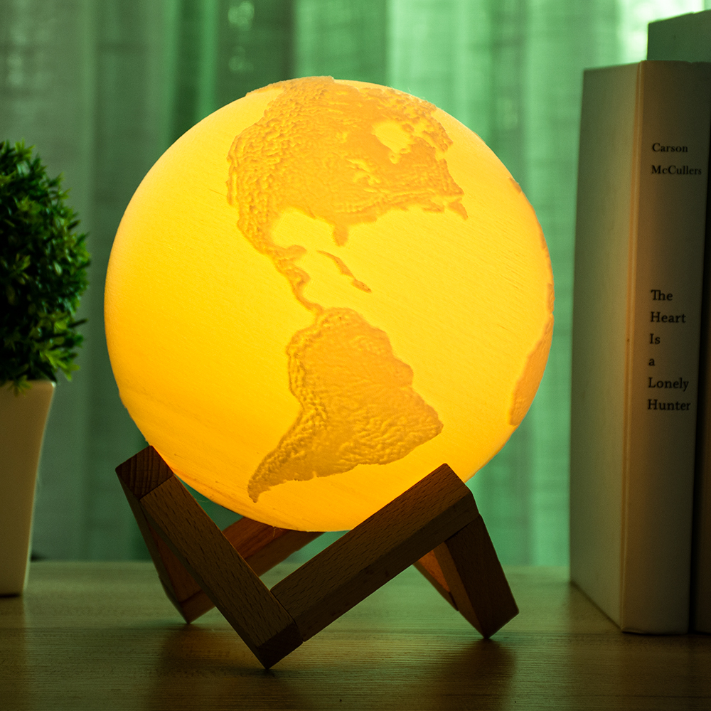 3D Print Earth Lamp Moon Light Colorful Moon Lamp Rechargeable Change Touch Usb Led Table Night Light Home Decor Creative Gift novelty led usb rechargeable night light colorful touch switch table lamp for home bedroom bedside decor color changing mode