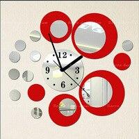 Черный красный зеркало настенные часы стикер фреска Vinly наклейки 3 DWall декор детская свадьба комната бесплатная доставка