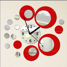 Black Red Mirror Wall Clock Sticker Mural Vinly Wall Art Stickers 3DWall Decor Children's room Wedding Room Free Shipping