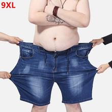 Extra large size men's denim shorts oversized men's elastic waist knee length summer loose shorts men plus size 9XL 8XL 7XL 6XL