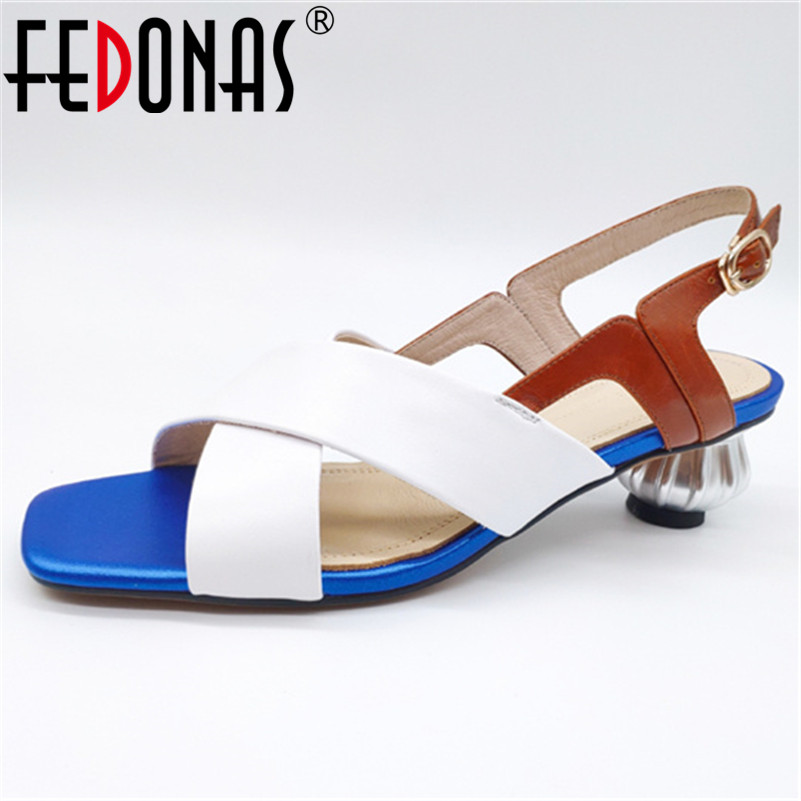 FEDONAS 2019 Summer Fashion Mixed Colors Genuine Leather Women Sandals Classic Rome Square Toe Strange Style Office Shoes WomanFEDONAS 2019 Summer Fashion Mixed Colors Genuine Leather Women Sandals Classic Rome Square Toe Strange Style Office Shoes Woman