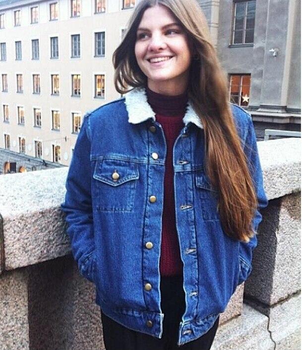 2015 Boyfriend Style Autumn Winter Wool Liner Denim Jacket Fashion Casual Loose Women Jean ...