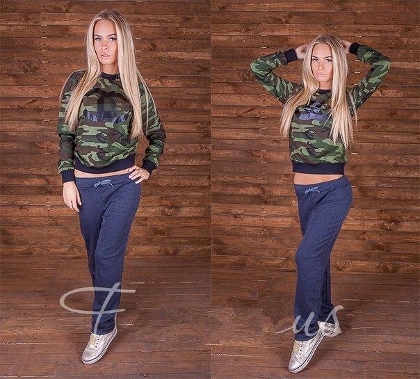 New 2015 Girlwomen Sweat Suits Camo Cc Print Sweatshirt -9291