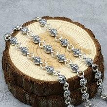 925 Collar de Plata Esterlina de la Vendimia de Flores Cruzado retro punky