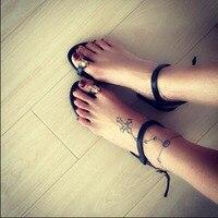 2016 Simple Design Big Toe Soles Flat Sandals Ankle Wrap Gold Black Women Sandals Femininos Casual