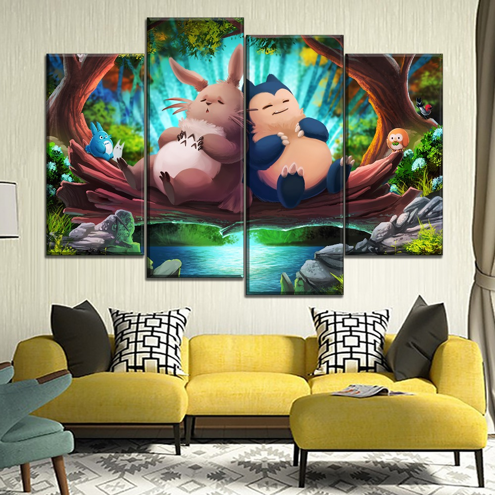 Modern Artwork Canvas Print Type My Neighbor Totoro And Pokemon Cartoon Movie Poster Home Decor Children Room Wall 4 Piece Style 1