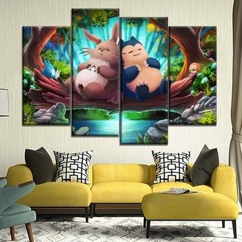 Modern Artwork Canvas Print Type My Neighbor Totoro And Pokemon Cartoon Movie Poster Home Decor Children Room Wall 4 Piece Style 1