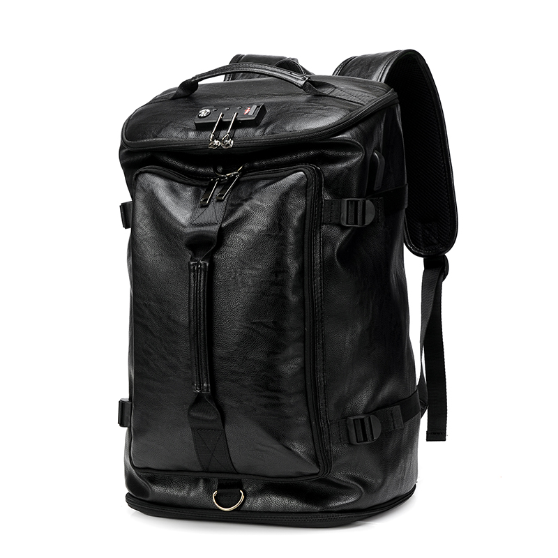 Password Male Mens Leather Backpack Laptop 17 16 5inch Waterproof Anti Thief Travel Bag Pack Outdoor