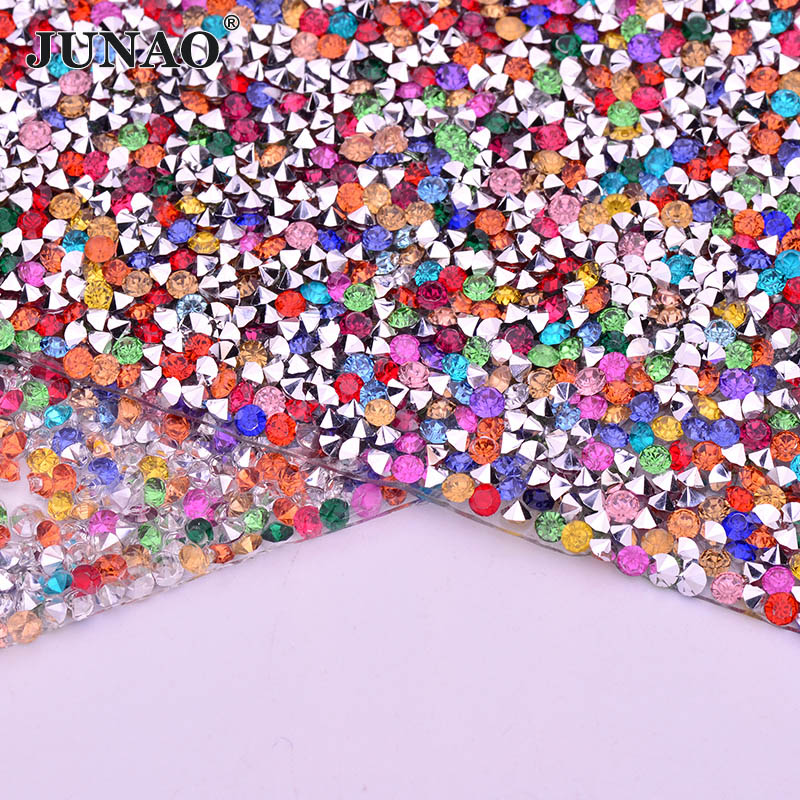 Detail Feedback Questions about JUNAO 24x40cm Mix Color Self Adhesive  Rhinestones Trim Ribbon Resin Crystal Fabric Sheet Strass Mesh for Garment  Jewelry ... 03021e2106dc