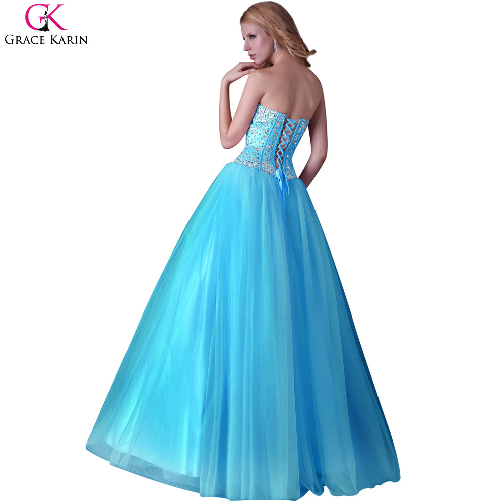Blue Prom Dresses 2017 Grace Karin Tulle Corset Sparkly Sequin ...