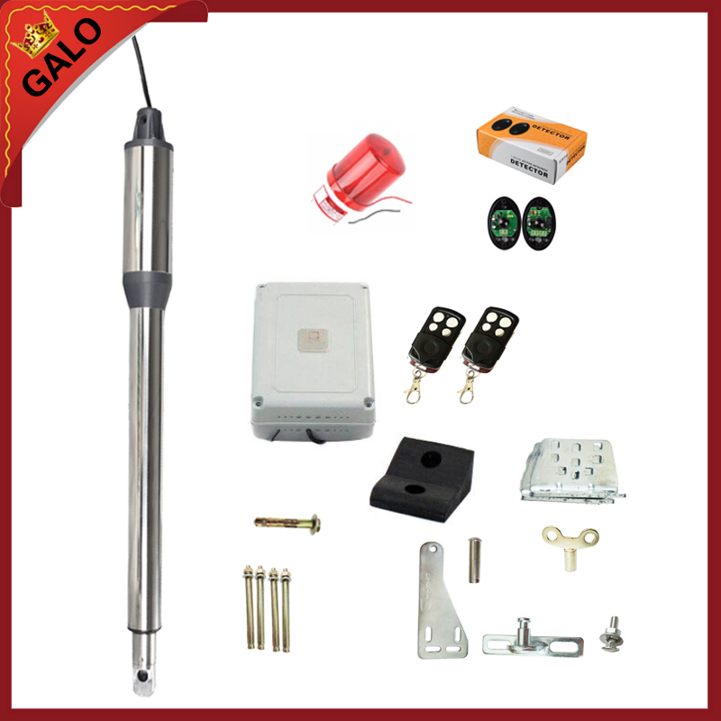 GALO single leaf 1 pc 24VDC automatic swing gate door opener motors linear actuator 1 photocell 1 alarm lamp 2 remote controls automatic swing gate opener motors for 300kg gate 2 remote controls